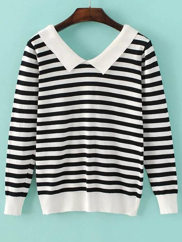 Black Contrast Striped Lapel Knitwear sweater160903223