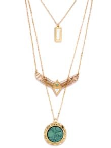 Gold Layered Turquoise Pandent Wing Shape Necklace