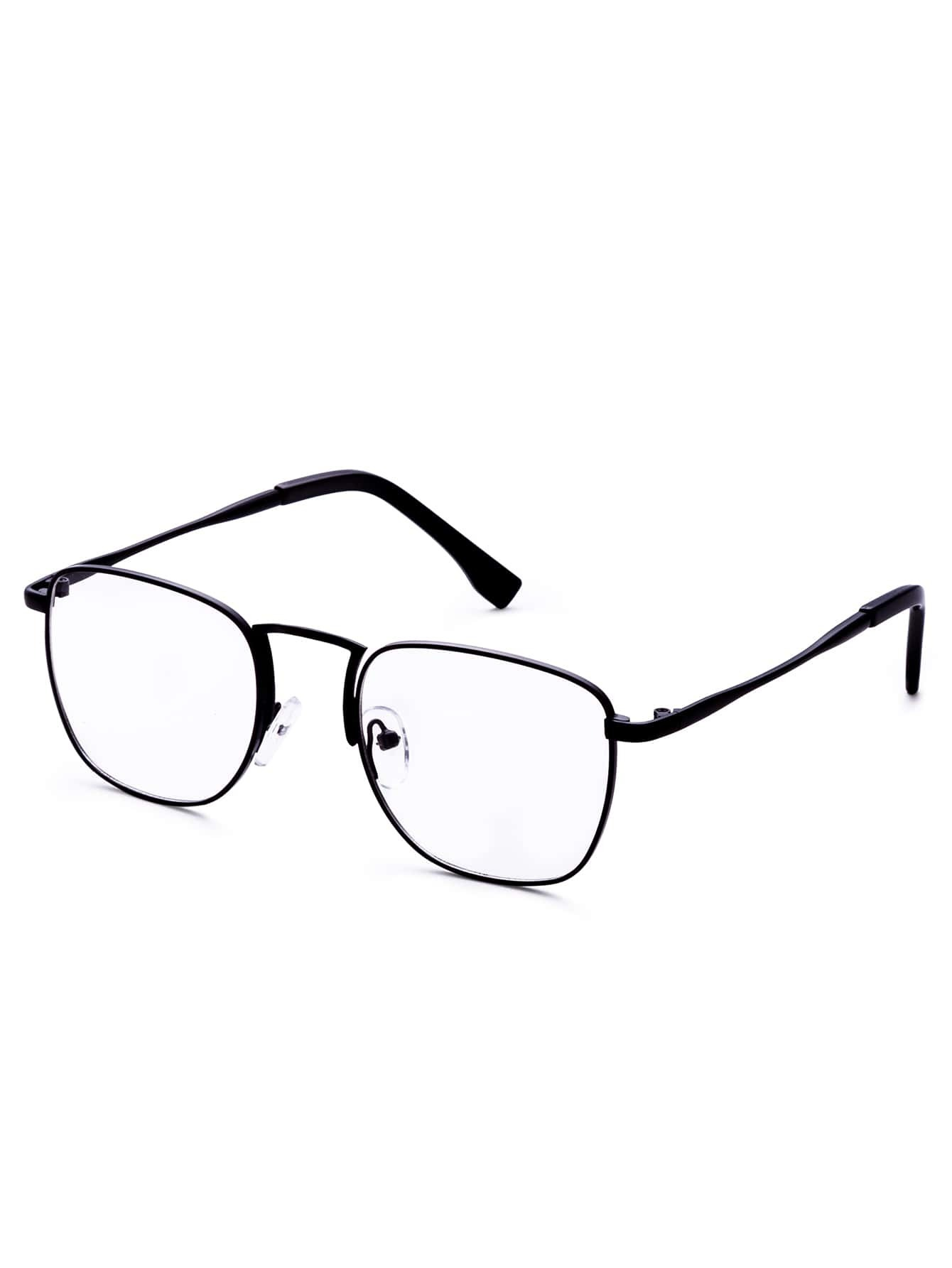 Black Frame Glasses Clear Lens : Black Frame Clear Lens Retro Glasses