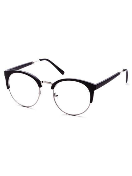 Black Open Frame Round Clear Lens Glasses