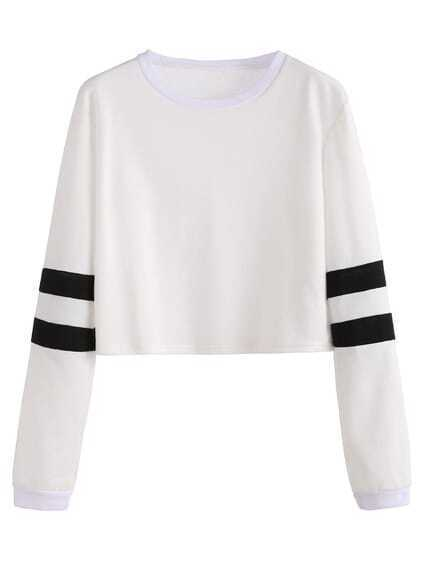 White Varsity Striped Sleeve Crop T-shirt