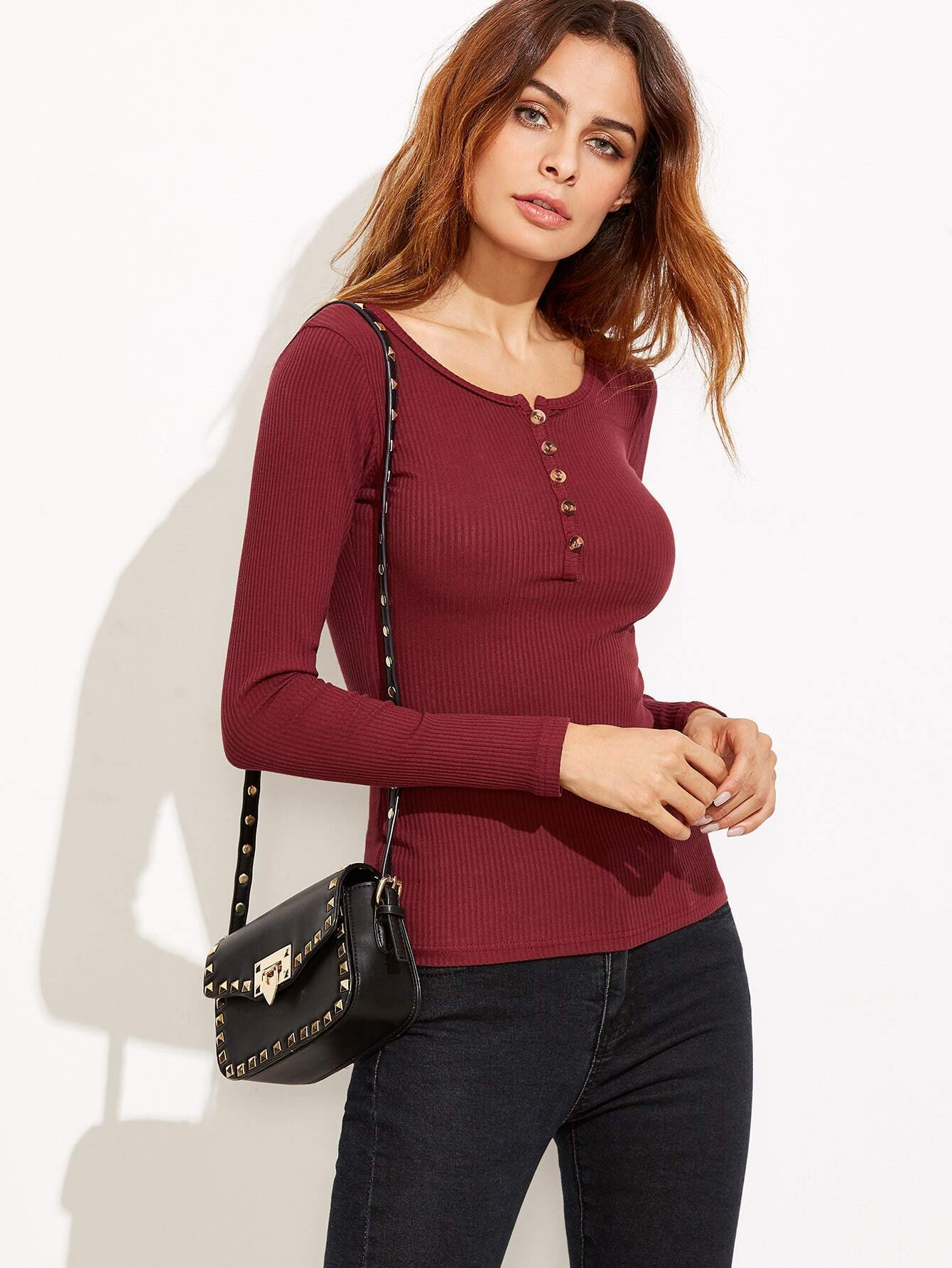 Burgundy Ribbed Knit T-shirt With Button RTSH160905110