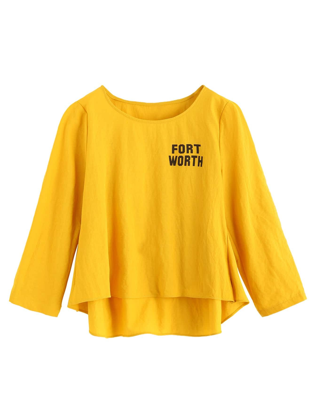 Mustard Yellow Letter Print High Low T-shirtFor Women-romwe