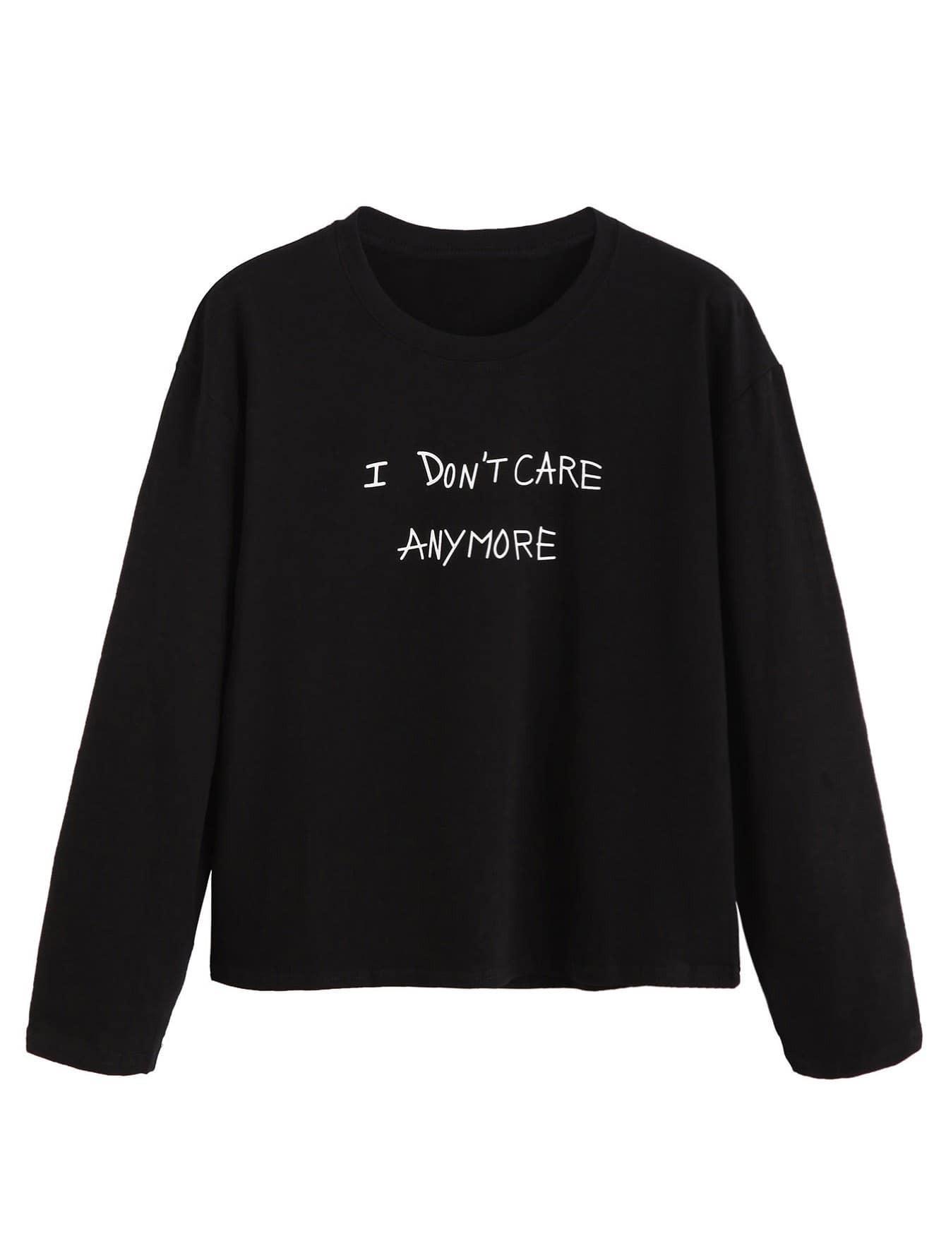 Black Slogan Print T-shirt RTSH160905120