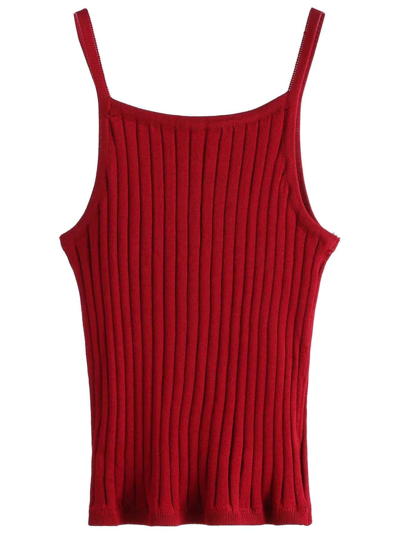 Burgundy Ribbed Knit Cami Top RVES160905001