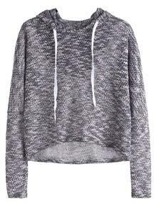 Drop Shoulder High Low Drawstring Hooded Sweatshirt