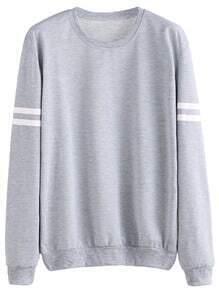 Sweat-shirt manche longue à rayure - gris