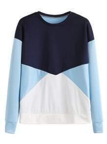 Contrast Color Block Dropped Shoulder Seam Sweatshirt