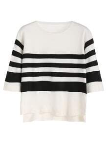 Black White Striped High Low Knitwear