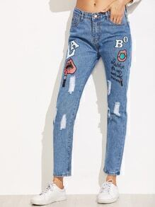 Blue Printed Ripped Ankle Jeans