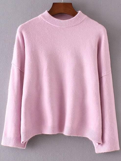 Pink Crew Neck Ribbed Trim Drop Shoulder Sweater
