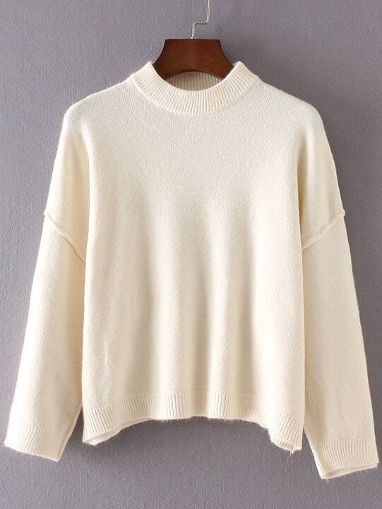White Crew Neck Ribbed Trim Drop Shoulder Sweater