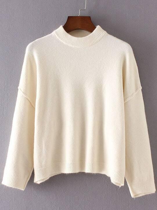 White Crew Neck Ribbed Trim Drop Shoulder Sweater