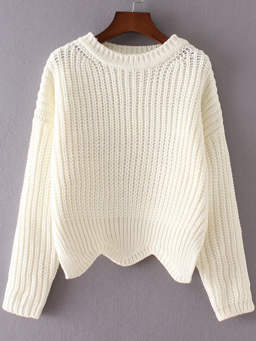 White Ribbed Trim Drop Shoulder Asymmetrical Hem Knitwear