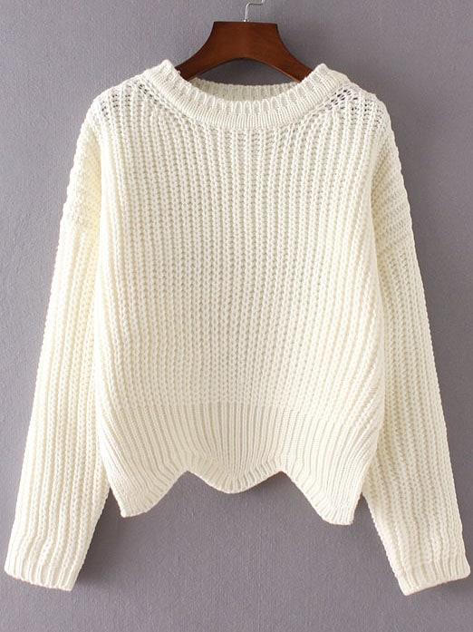 White Ribbed Trim Drop Shoulder Asymmetrical Hem Knitwear