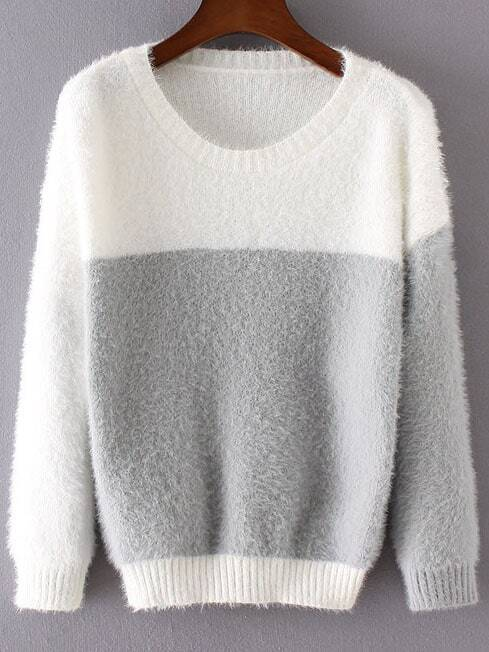 Grey Color Block Ribbed Trim Round Neck Sweater