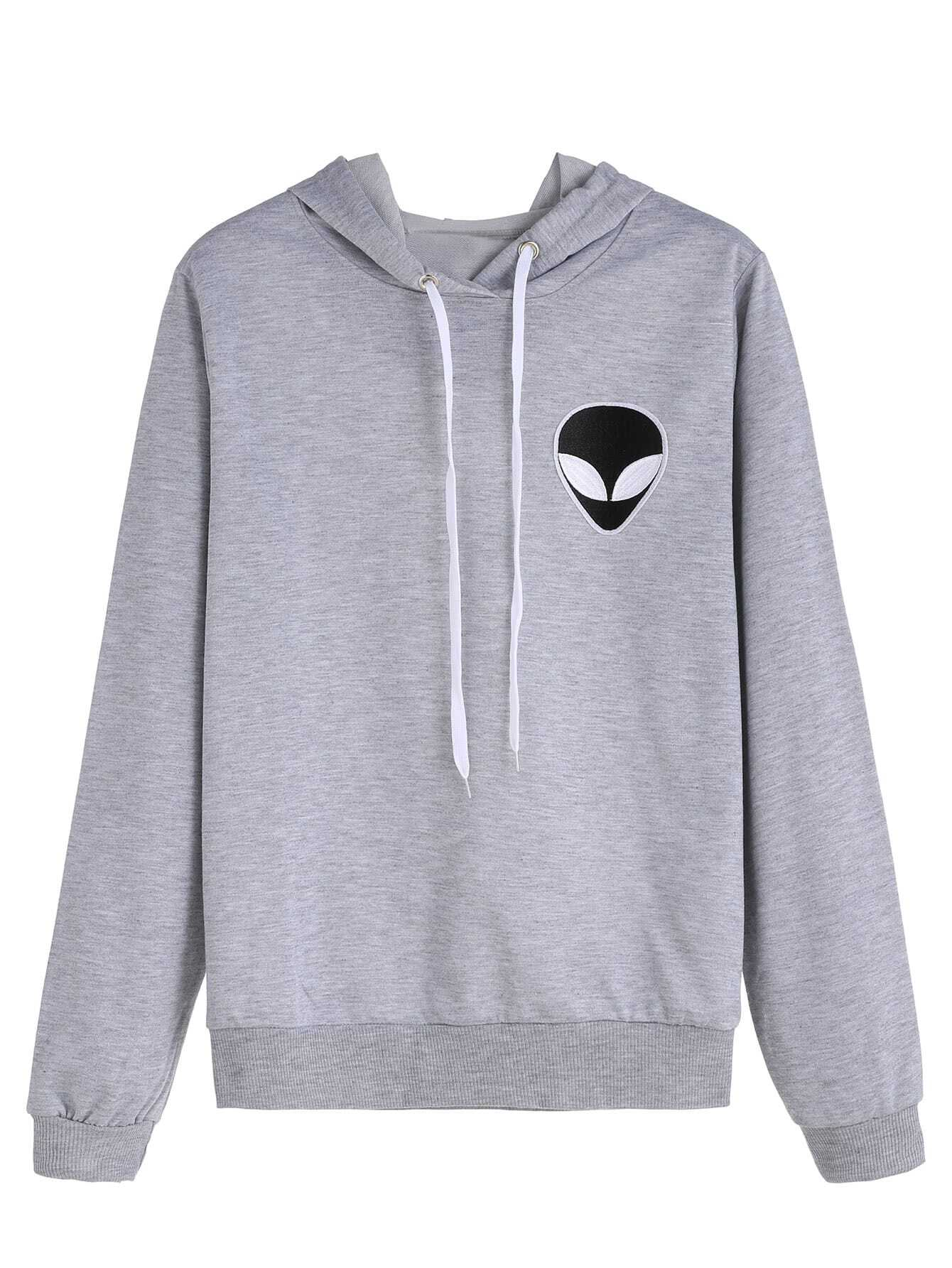Grey Alien Embroidered Hooded Sweatshirt