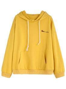 Yellow Letters Embroidered Pocket Hooded Sweatshirt