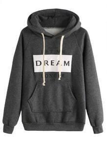 Grey Letters Print Pocket Hooded Sweatshirt