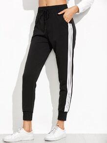Pantalons motif rayures - noir