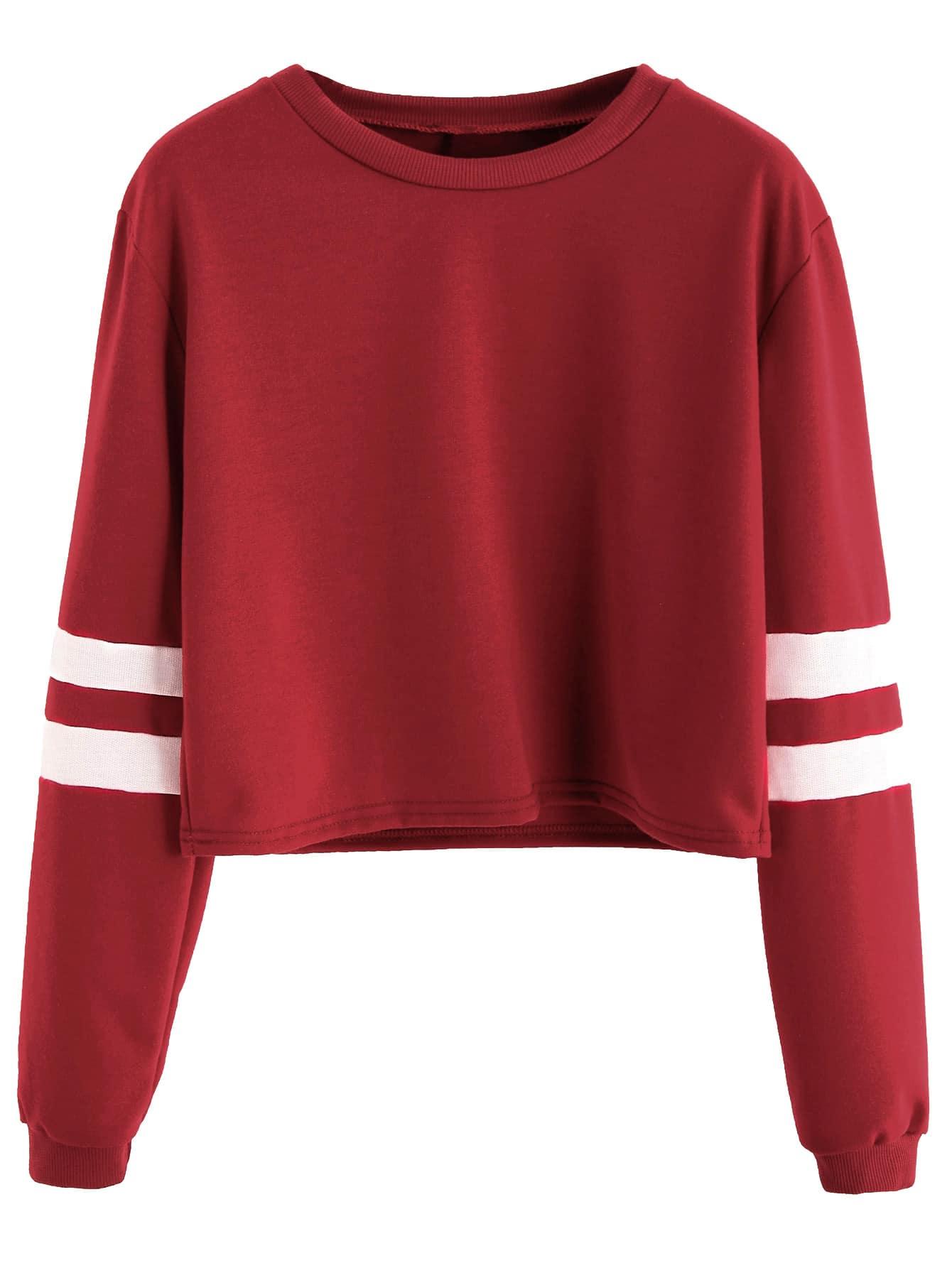 burgundy varsity striped sleeve crop t shirtfor women romwe