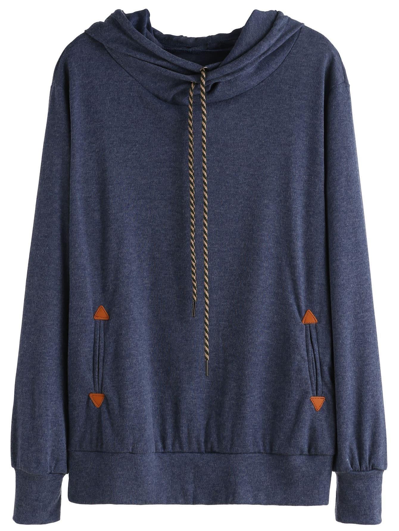Blue Drawstring Hooded Sweatshirt RSWE160906004
