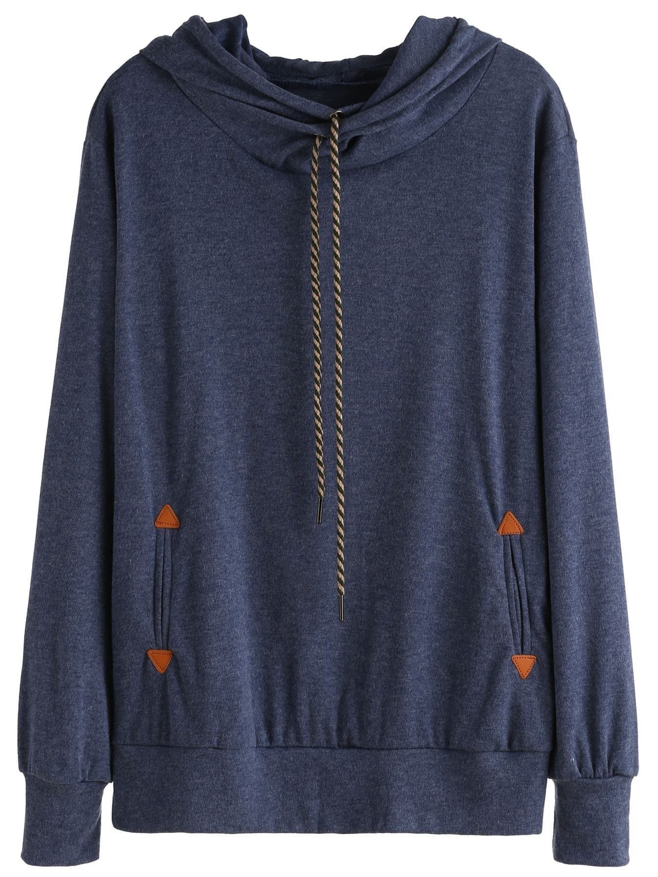 Blue Drawstring Hooded Sweatshirt