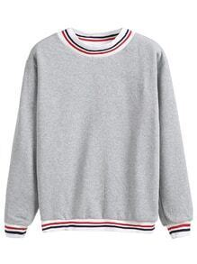 Heather Grey Contrast Striped Trim Sweatshirt