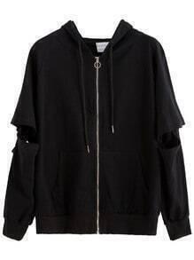 Black Cut Out Removable Sleeve Zip Hooded Sweatshirt