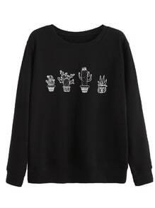 Sweat-shirt imprimé cactus manche longue - noir