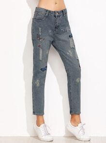 Blue Butterfly Embroidered Ripped Ankle Jeans