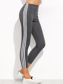 Grey Contrast Striped Side Leggings