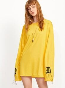 Yellow Letter Print Embroidered Drop Shoulder Shift Dress