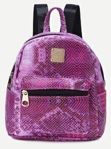 Purple Snakeskin Print PU Backpack