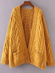 Cárdigan de punto de ochos hombro caído con bolsillo - amarillo
