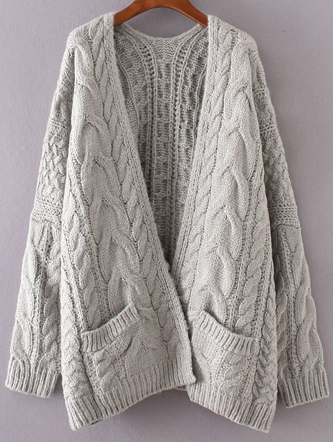Grey Drop Shoulder Cable Knit Cardigan With Pockets