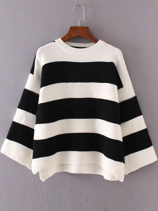 Black Striped Ribbed Side Slit High Low Sweater sweater160906208