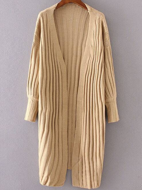 Khaki Ribbed Collarless Drop Shoulder Long Cardigan sweater160906213