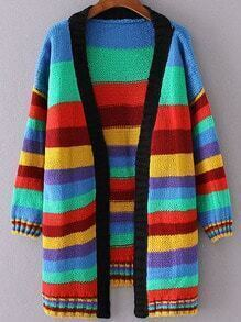 Multicolor Striped Open Front Loose Cardigan