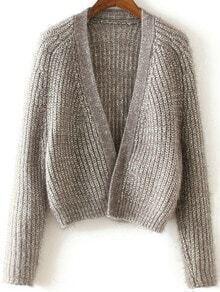 Grey Collarless Open Front Raglan Sleeve Cardigan
