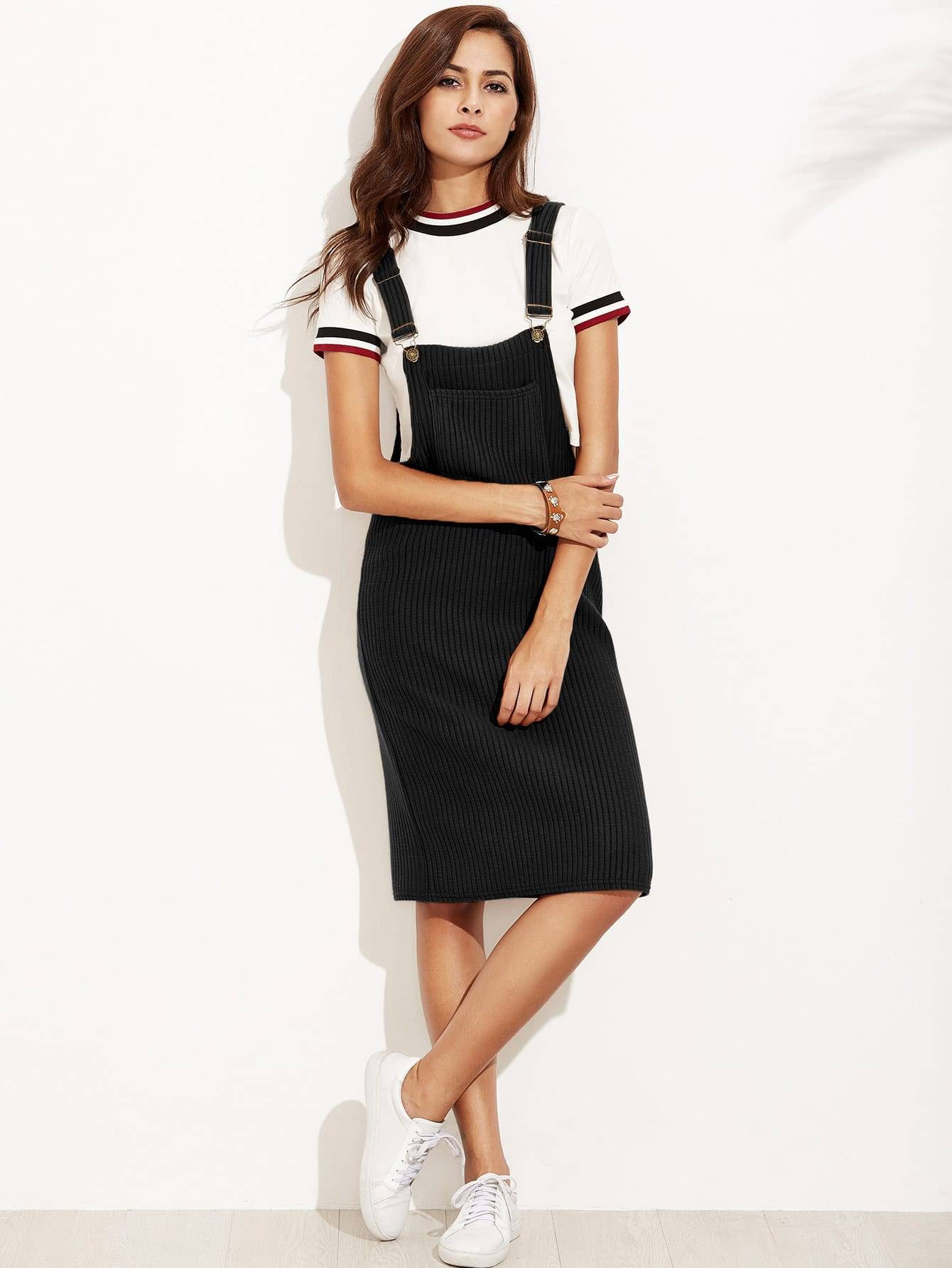 Black Ribbed Overall Dress With Pocket