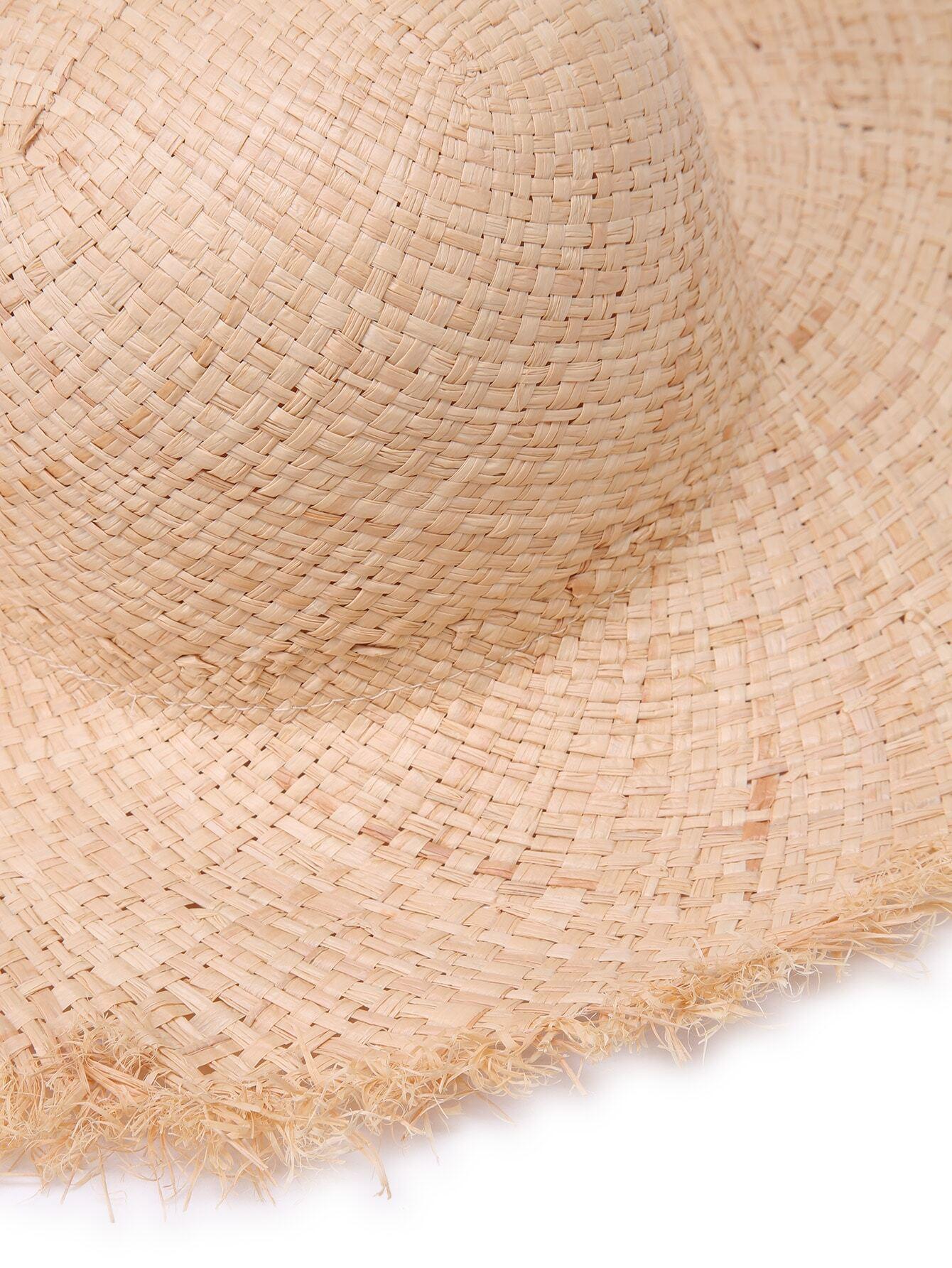 chapeau en paille avec bord cru french romwe. Black Bedroom Furniture Sets. Home Design Ideas