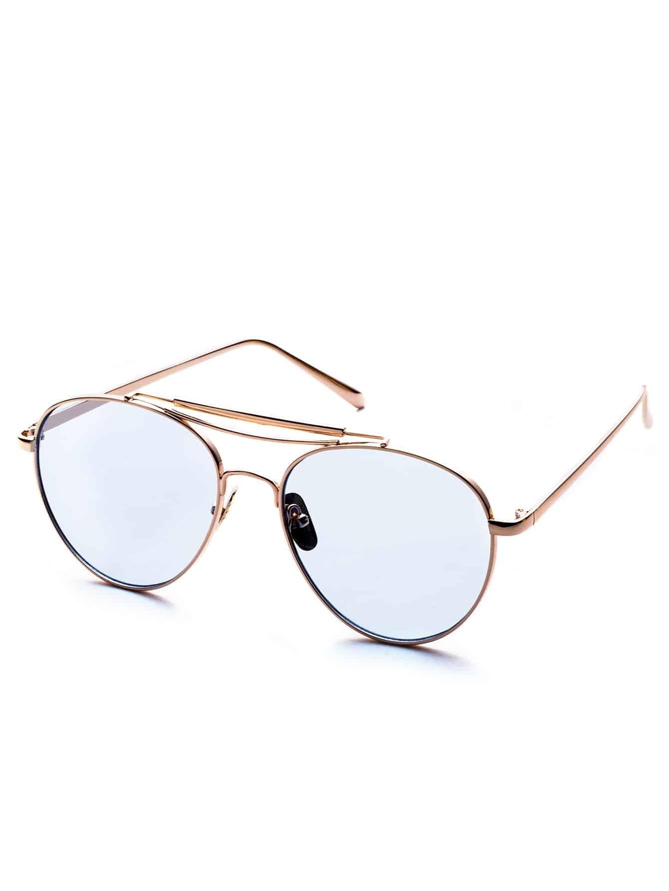 Metal Frame Double Bridge Blue Lens Aviator Sunglasses sunglass160906306