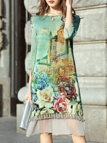 Green Flowers Print Shift Dress