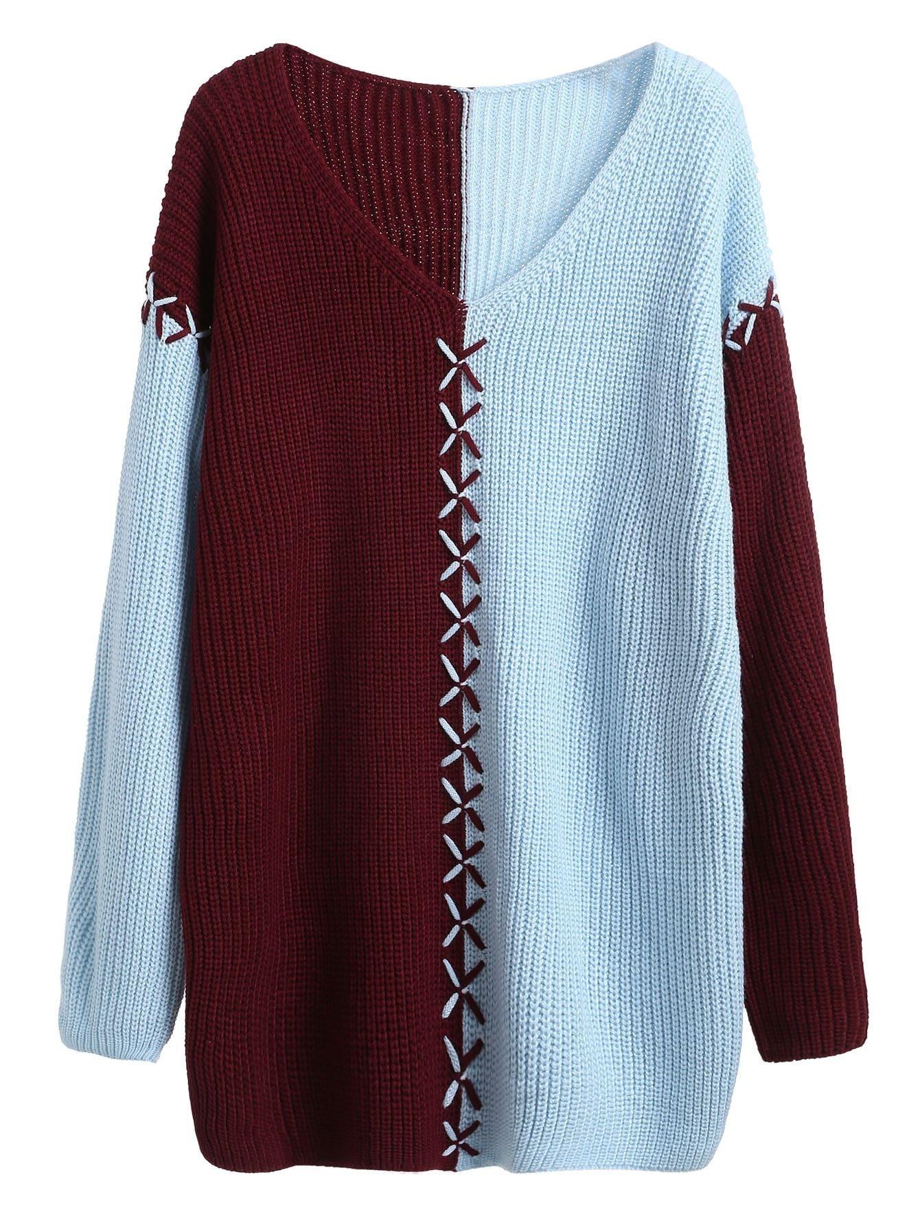 Contrast V Neck Dropped Shoulder Seam Sweater Dress RDRE160907101