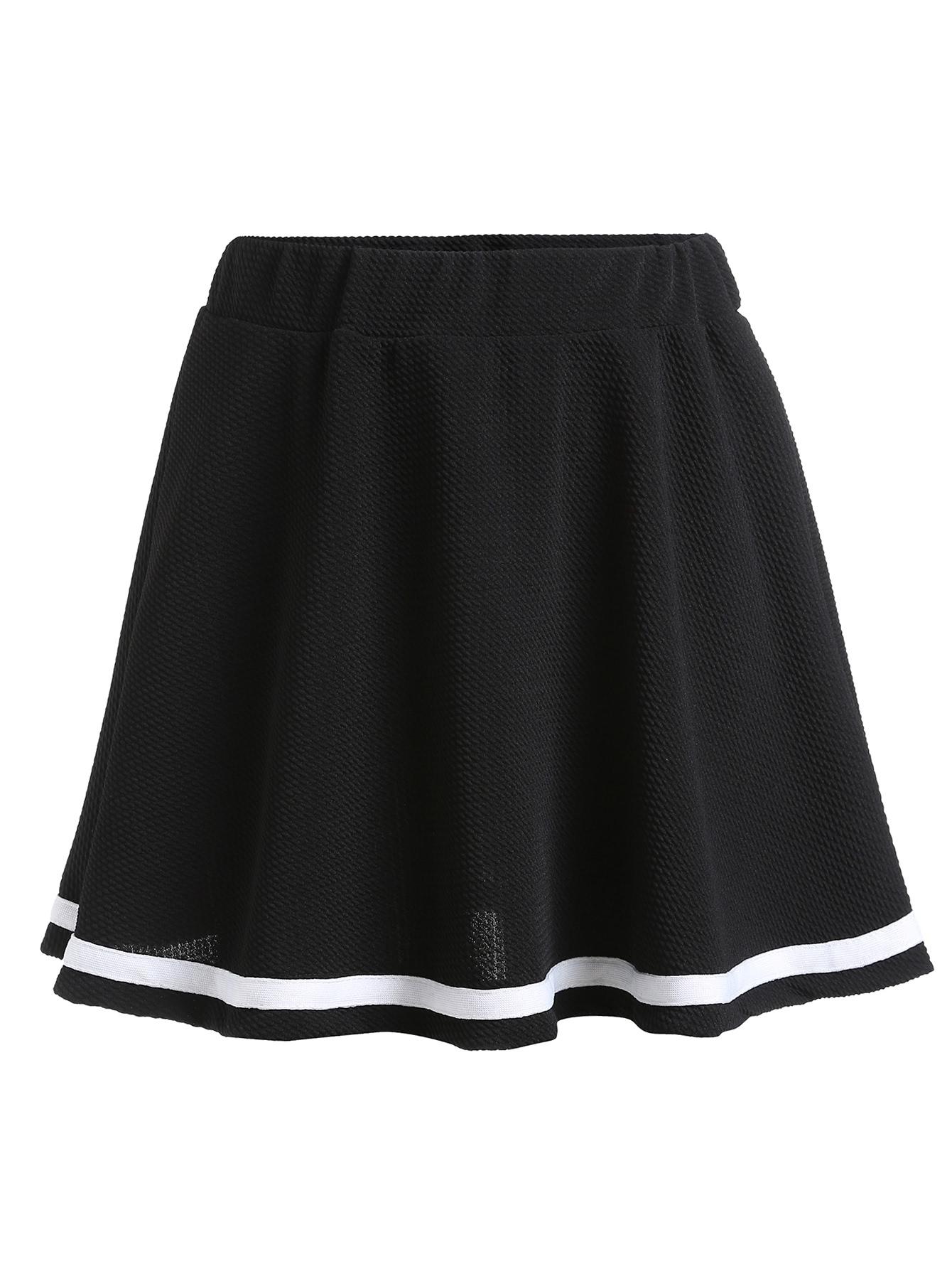 Black Contrast Tape Hem Elastic Waist A Line Skirt