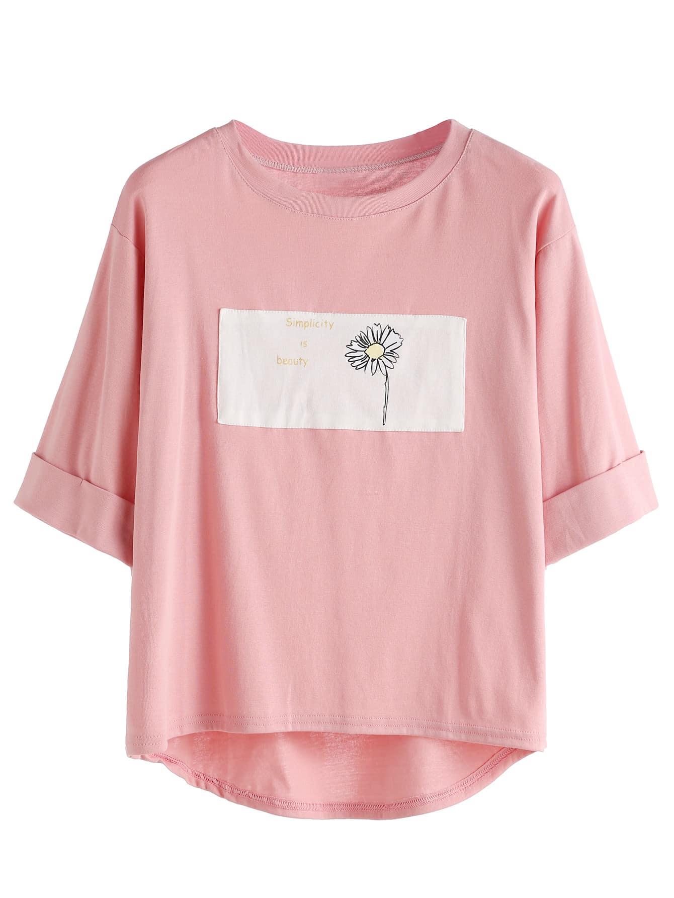 Pink Contrast Daisy Print High Low Cuffed T Shirtfor Women