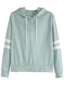 Pale Green Varsity Striped Drawstring Hooded Sweatshirt