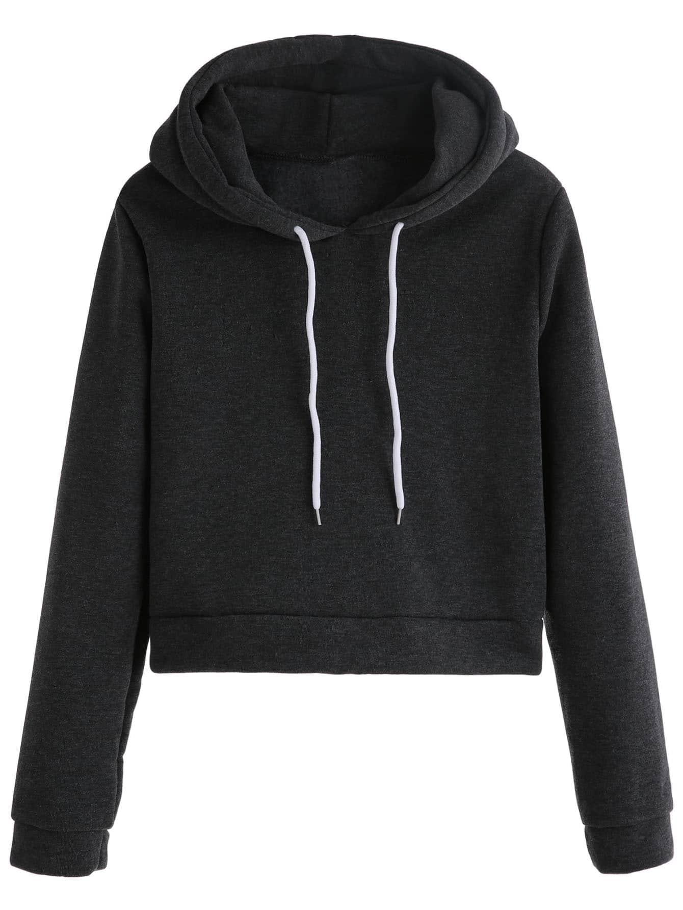 Dark Grey Drawstring Hooded Sweatshirt