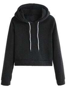 Dark Grey Drawstring Hooded Sweatshirt